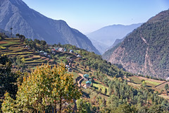 Terrace farming on the Himalayan slopes in Everest Regin, Nepal (CamelKW) Tags: nepal terrace farming himalayan slopes 2016 everestpanoram everestregin