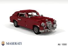 Maserati A6 1500 (1948) (lego911) Tags: auto italy classic 1948 car model italian lego render 1940s fabulous coupe 1500 forties challenge 103 maserati a6 cad lugnuts povray moc berlinetta ldd miniland lego911 thefabulousforties