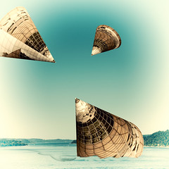 Landing craft.jpg (Dave Obuck - Skypuff) Tags: seattle blue sky building ice water architecture reflections pattern space blues fantasy pugetsound bellevue cosmos cones