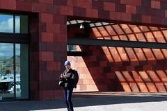 H , i'm in the Picture / Hallo ik ben op de Foto . (jo.misere) Tags: shadow red lines museum reflections person mas belgium belgie schaduw rood antwerpen lijnen reflectie persoon