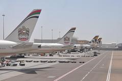 AUH: Terminal 3. (A380spotter) Tags: departure pushback gate33 thirtythree stand308 turnaround tails tail tailfin fins verticalstabiliser rudder empennage horizontalstabliser elevator tailplane taxiway boeing 777 300er a6eth ey0311 auhjed gate34 stand309 a6etg ey0258 auhdac gate35 stand310 flight3031052016ey69key0018lhrauh47k0630 airbus a380 800 msn0180 a6apd fromabudhabitotheworld facetsofabudhabi landorassociates 2014 livery colours scheme الإتحاد etihad etihadairways etd ey ey0454 auhsyd gate60 terminal3 three abudhabiairportscompanyadac مطارأبوظبيالدولي abudhabiinternationalairport omaa auh دولةالإماراتالعربيةالمتحدة dawlatalimārātalarabīyahalmuttaḥidah unitedarabemirates uae
