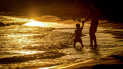 Still Too Cold! (NathalieSt) Tags: boy sunset seascape de rouge soleil seaside child coucher enfant