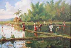 Isidro Ancheta: Planting Rice (Leo Cloma) Tags: gallery antique auction philippines leon antiques makati cloma