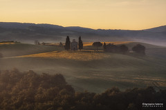 Tuscan visions (Agrippino Salerno) Tags: morning travel trees light sky italy colors fog sunrise countryside hills tuscany cypress valdorcia sanquiricodorcia vitaletachapel
