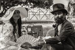 Victorian couple (ricklisle) Tags: sardegna blackandwhite bw woman man hat canon beard grande couple sardinia pipe victorian victoriana cagliari jatte grandejatte
