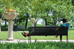 Rote Socken (dirklie65) Tags: park red people chicago illinois bank stocks socken benchmark rote