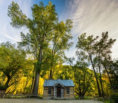 Historic Cottage in Arrowtown (Photography by Sue) Tags: new autumn trees colours cottage police historic hut zealand queenstown arrowtown