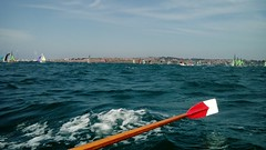 Rowing in choppy water... we got very wet... with elite international sailing dinghy racing behind (Sue (Oldsewingsue)) Tags: sea water sunshine weather waves sailing turquoise sunny dorset wpsa portlandharbour gigboat elitesailing portlandsailingacademy internationalsailing