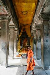 Unexpected (jkpark78) Tags: 2016 sonya7rii angkorwat cambodia travel monk photobomb candid temple orange yellow