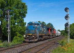 Big Blue Lives On (Joseph Bishop) Tags: road railroad cn train ic track tracks rail railway trains signals rails 394 ge railfan brantford hardy c408w 2457 cndundassubdivision