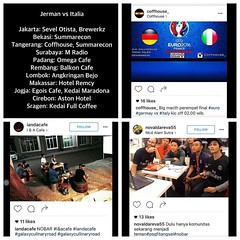Lokasi Nobar: List Nobar #Euro2016 #Jerman vs #Italia #Jakarta: Sevel Otista, Brewerkz #Bekasi: Summarecon #Tangerang: Coffhouse, Summarecon #Surabaya: M Radio #Padang: Omega Cafe #Rembang: Balkon Cafe #Lombok: Angkringan Bejo #Makassar: Hotel Remcy #Jogj (lokasinobar) Tags: barcelona madrid city milan roma liverpool indonesia manchester real bayern la football chelsea soccer united bola arsenal serie juventus tottenham inter bareng psg liga epl suporter persija lokasi nonton persib a sepakbola nobar arema kuliner nonbar