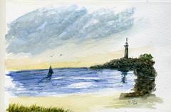 marine live facebook (ybipbip) Tags: sea sky cloud mer watercolor painting landscape boat paint live marin sable cte ciel watercolour acuarela nuage bateau paysage phare pintura aquarela aquarell acquerello akvarell akvarel