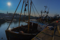 Evening light at Ardglass.... (A A A A Dafydd Penguin) Tags: ireland light sun fish port evening harbor boat fishing dock nikon ship harbour vessel 20mm af nikkor northern trawler d600 ardglass f28d