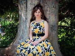 Saturday walk (blackietv) Tags: black flower floral yellow vintage outside dress outdoor crossdressing tgirl transgender transvestite housewife crossdresser wedges