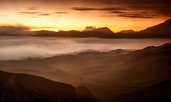 BROMO-TENGGER-SEMERU NATIONAL PARK, EAST JAVA, INDONESIA. (amrilizan photography) Tags: morning mountains nature silhouette clouds sunrise indonesia landscapes java nationalpark layers bromo eastjava bromotenggersemerunationalpark mountbatok bromocrater guningbatok