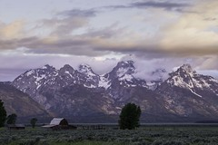 DSCF9392lr_ps (HDRob) Tags: mormonrow barns sunrise landscape mountains grandtetonnationalpark grandtetons