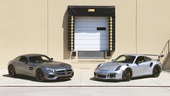 A Dynamic Duo from Deutschland (FourOneTwo Photography) Tags: auto car exotic supercar sportscar 991 porsche911gt3rs fouronetwophotography mercedesbenzamggts