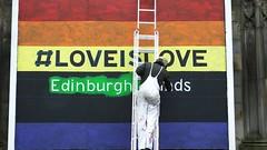 painting love 02 (byronv2) Tags: street man colour art church painting scotland orlando rainbow mural edinburgh paint colours candid lgbt painter ladder newtown rainbowflag peoplewatching gayrights saintjohns saintjohnschurch