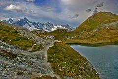 Lac de Fentre et Mont Dolent. No. 0612. (Izakigur) Tags: lake water switzerland ferret hiking feel lac montblanc nikond200 nikkor1755f28 montblancmassif greatstbernardpass gransanbernardo lacdefentre grossersanktbernard