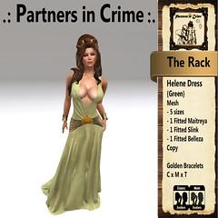 Helene Dress {Green} (partnersincrime.sl) Tags: sexy outfit women dress medieval fantasy gown elegant rp slave garment gor kajira