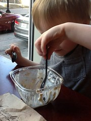 "Paul Eating Breakfast with Two Spoons • <a style=""font-size:0.8em;"" href=""http://www.flickr.com/photos/109120354@N07/27754672102/"" target=""_blank"">View on Flickr</a>"