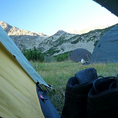 Morning view (Pepaaya) Tags: trip morning mountains trek shoes tent rila bulgary backpackers morningview bulharsko fromthetent