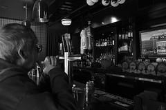 time out (edwardpalmquist) Tags: street city vegas people urban blackandwhite man beer monochrome bar lasvegas nevada freemontstreet