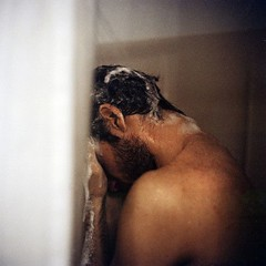 67a70dc4b21fc77438cc372c94db9b59 (Academy Films) Tags: shower shampoo beard man washing