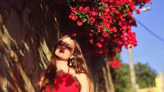 183/366: combined (Andrea  Alonso) Tags: flowers red portrait woman selfportrait me rojo retrato lipstick 365 autorretrato maquillaje 366
