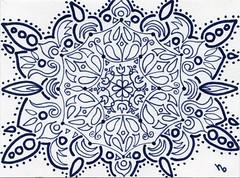 Blue Linework Mandala (Manurnakey) Tags: postcard doodle handdrawn zentangle zendoodle