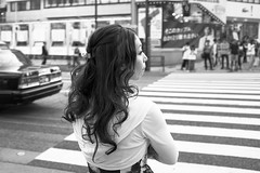 Waiting for Green Light (Igor Voller) Tags: street city people bw woman girl monochrome car japan lady hair tokyo back outdoor taxi profile strangers stadt harajuku   frau                 strase frulein