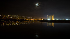adrift in the night (keith midson) Tags: city moon reflection art water night canon reflections lights evening f14 sigma moonlight silos 24mm tamar launceston tamarriver