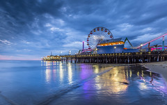Drive West on Sunset to the Sea... (Jerry Fryer) Tags: california sky beach clouds reflections coast pier losangeles sand route66 dusk santamonica bluehour 6d ef1635mmf28lii