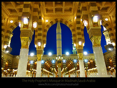 The_Holy_Prophet's_Mosque_Madinah-10015 (ArabianLens.com) Tags: reflection horizontal architecture outdoors photography dawn islam religion images mosque illuminated east getty medina spirituality middle saudiarabia distant traveldestinations almadinah buildingexterior placeofinterest largegroupofpeople colourimage gulfcountries incidentalpeople madinahmedinahajjmuslimislammohammedpbuhmakkahsaudiarabiaislamicartitechuremasjidnabawimosquerawlashaerifjennahziyarathminaretsgreendomeminaretspeople clearskyrawlasharifumbrella