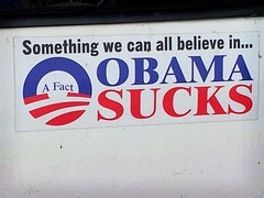 Obama Sucks bumper sticker (Jesse 1974) Tags: blue red white truck logo suck sticker president bumper believe sucks plumber obama hussein fact barack flickrandroidapp:filter=berlin