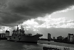 R06 HMS Illustrious (PaulHP) Tags: sun white storm black london monochrome rain thames clouds river anniversary greenwich navy royal battle atlantic boa rays 70th illustrious rn hms r06