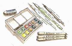 Travel Kit (Josiah Hanchett) Tags: art moleskine pen watercolor sketch artist drawing