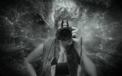 <camera face> (Tangie Ray) Tags: blackandwhite bw nikon galaxy nebula messyhair messybun nikond5100 tangieray