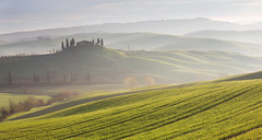 spring haze. (Radiohead.) Tags: morning light italy sun mountains tree green nature field fog contrast sunrise canon germany eos dawn landscapes spring haze nebel mark iii natur wide hans hills valley lee tuscany 5d belvedere cypress filters landschaft sonne 70200 ef tal fiel toskana findling sonnen 5d3