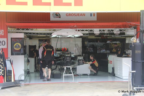 Romain Grosjean's Lotus pit garage at the 2013 Spanish Grand Prix
