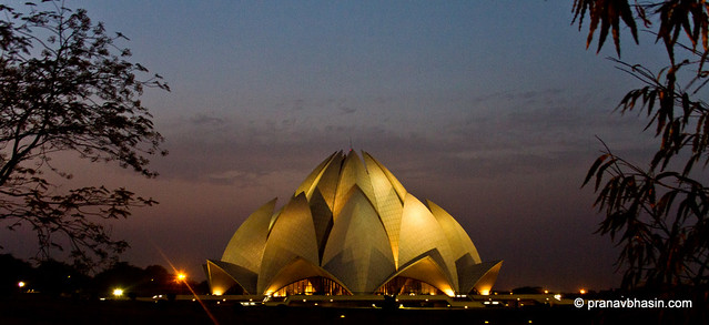 Lotus Temple At Night Panorama, Kalkaji, New Delhi