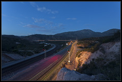 Heading out of Canyon (K-Szok-Photography) Tags: longexposure canon nightimages unionpacific 5d nightshots canon5d canondslr cajon railroads inlandempire desertmountains cajonpass movingtrains nationaltrainday kenszok kszokphotography
