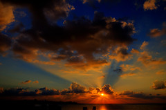 Sunset (vartkesn) Tags: city light sunset shadow sea cloud sun building clouds mediterranean ray shadows shine cloudy shade rays beirut shining shorline mediterraneansea puffyclouds