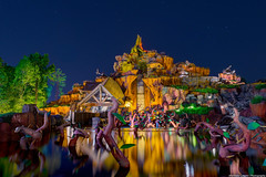 Reflections of Splash Mountain (TheTimeTheSpace) Tags: night reflections stars nikon magic kingdom disney disneyworld hdr magickingdom splashmountain frontierland d800 matthewcooper thetimethespace