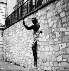 The Walker-Through-Walls (Purple Field) Tags: street bw paris france 120 6x6 tlr film monochrome analog rolleiflex square alley kodak trix 400tx medium   f28  schneider kreuznach 80mm    28f  xenotar        stphotographia x