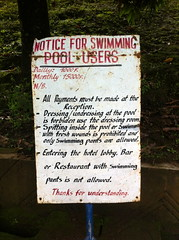 AMAZING SIGN: No open wounds in the pool! (epape) Tags: sign swimming best ever prohibited verboten cameroon interdit bamenda 2013 freshwounds pantsnotallowed