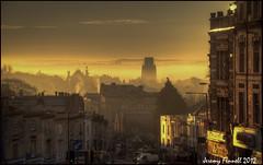 Bristol December 2012 (zolaczakl) Tags: sky architecture sunrise buildings bristol golden december earlymorning 2012 blackboyhill willsmemorialtower whileladiesroad jeremyfennell