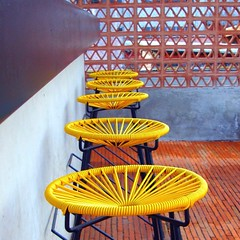 Take a seat (StartTheDay) Tags: city rooftop yellow mexico hotel chair downtown stool