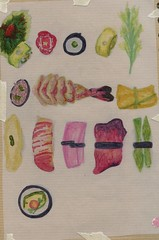 Sushi coloured sketch (sacha.frampton) Tags: food brown game colour detail art college japan illustration bar pencil paper sushi children japanese book sketch university dinosaur drawing leeds away games sketchbook tape take marker childrens takeaway concept pens sketches variation sacha module masking copic tracing frampton
