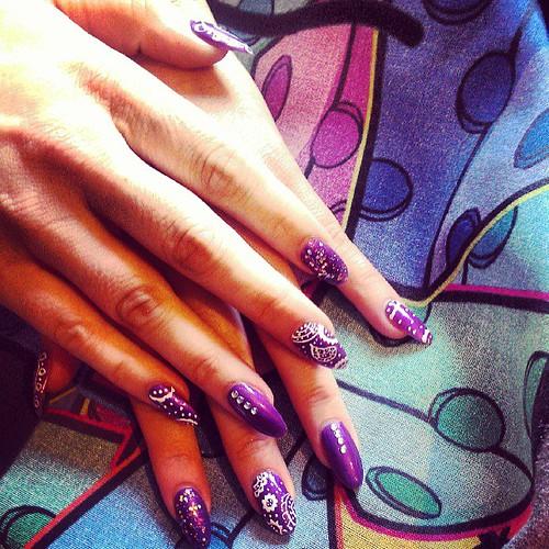 So this just happened, thanks to @jessicakes10 and @bluecheese2012 #skulltee love it xxx #paisley #nails #nailart #gems #glitter #polish #wahinspired #wahartpen #opi #skullgang #bluecheese